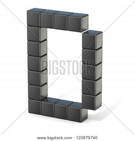 8 bit font. Capital letter D. 3D render illustration isolated on white background