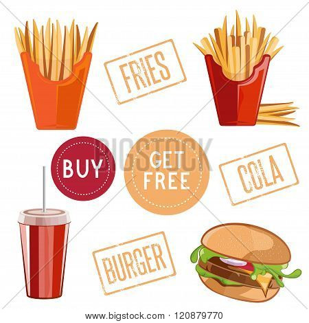 Fast Food Vector Illustration With Burger,fries And Cola