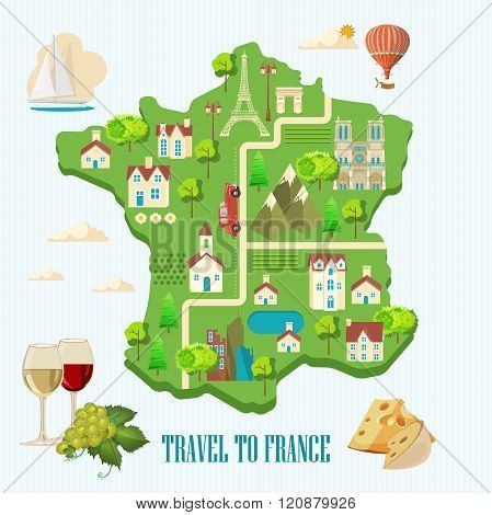 Vector french poster. France map