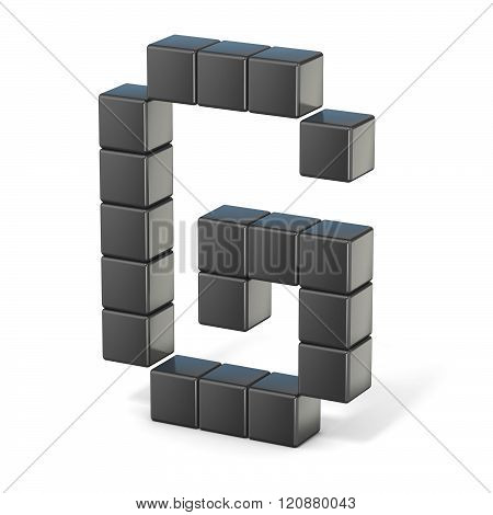 8 bit font. Capital letter G. 3D render illustration isolated on white background