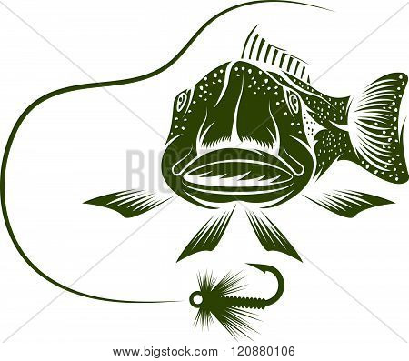 Funny Trout And Lure Vector Design Template