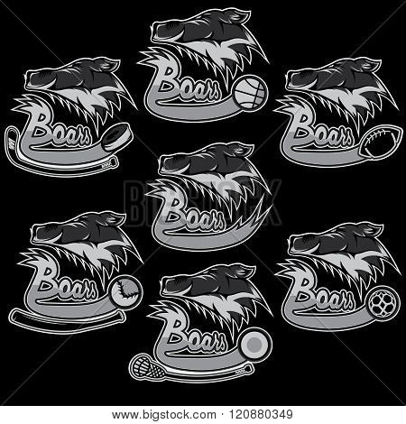 Set Of Boars Sports Vintage Labels . Concept Of Graphic Clipart Work