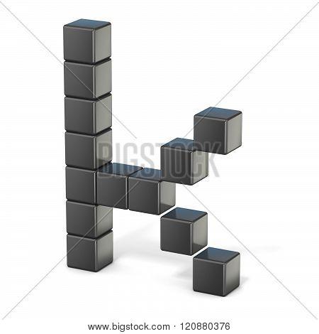 8 bit font. Lowercase letter K. 3D render illustration isolated on white background