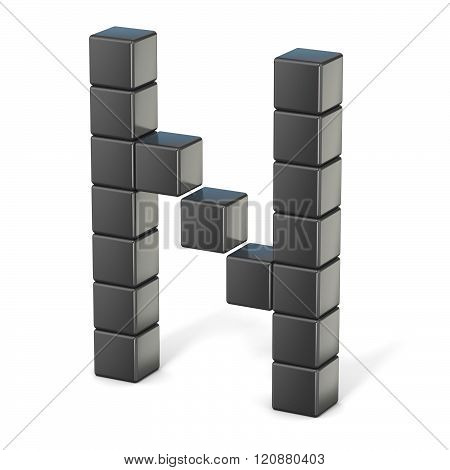 8 bit font. Capital letter N. 3D render illustration isolated on white background
