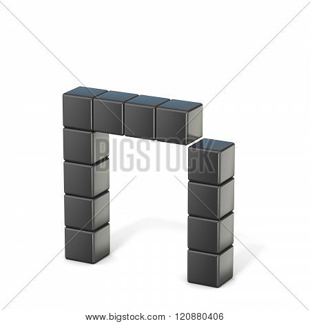 8 bit font. Lowercase letter N. 3D render illustration isolated on white background