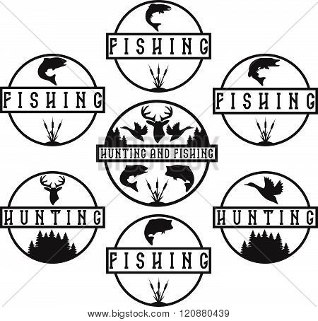 Set Of Vintage Hunting And Fishing Labels
