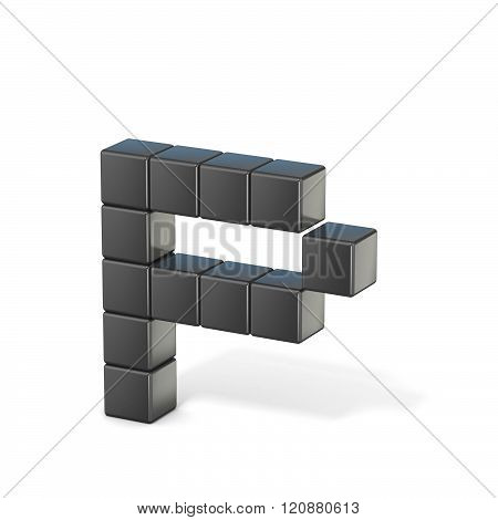 8 bit font. Lowercase letter P. 3D render illustration isolated on white background
