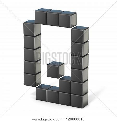 8 bit font. Capital letter Q. 3D render illustration isolated on white background