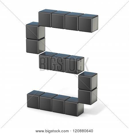 8 bit font. Capital letter S. 3D render illustration isolated on white background