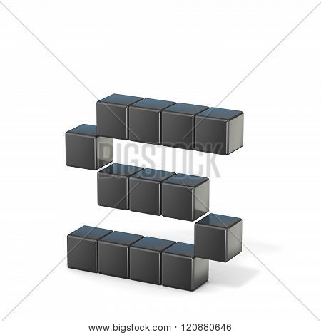 8 bit font. Lowercase letter S. 3D render illustration isolated on white background