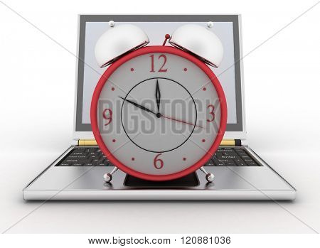 Laptop and clock. 3d illustration on white background