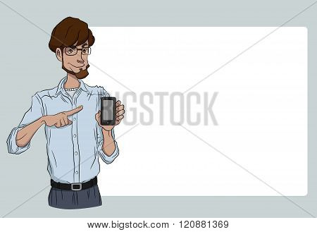 Vector illustration character with bubble talk.