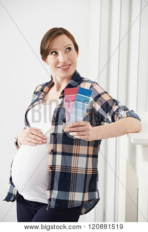 Pregnant Woman Choosing Color Scheme Fort Baby's Room