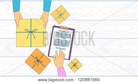 Delivery Service Package Box Receiving Courier Hands Customer Sign Up Empty Copy Space