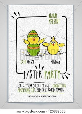 Creative Invitation Card design decorated with cute chicks for Easter Party celebration.