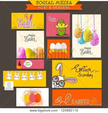 Creative Social Media post and header set with Cute Chick, Bunny and Colorful Eggs for Happy Easter Sunday celebration.