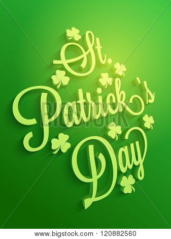 Elegant Pamphlet, Banner or Flyer design with stylish 3D text St. Patrick's Day and shamrock leaves on shiny green background.