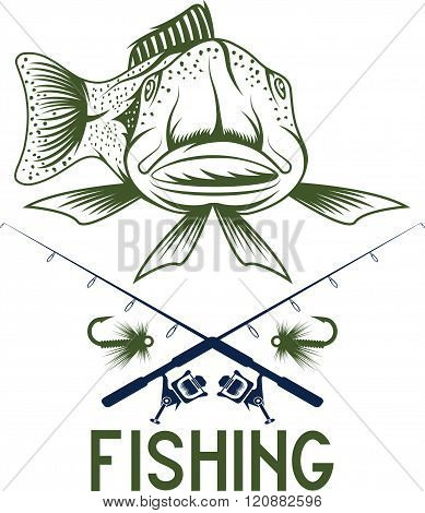 Vintage Funny Fishing Vector Design Template . Concept Of Graphic Clipart Work