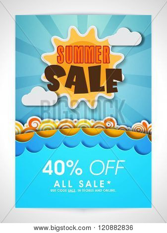 Summer Sale Banner, Sale Poster, Sale Flyer, Sale Vector. 40% Off, Sale Background. Vector illustration.