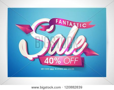 Fantastic Sale Banner, Sale Poster, Sale Flyer, Sale Vector. 40% Off, Sale Background. Vector illustration.