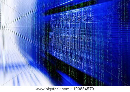 blade server server equipment rack data center closeup and blur blue toning
