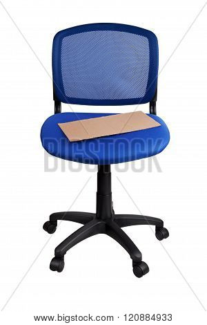 Poster Lying On A Blue Office Chair