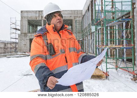 Senior Foreman At Construction Site In Winter