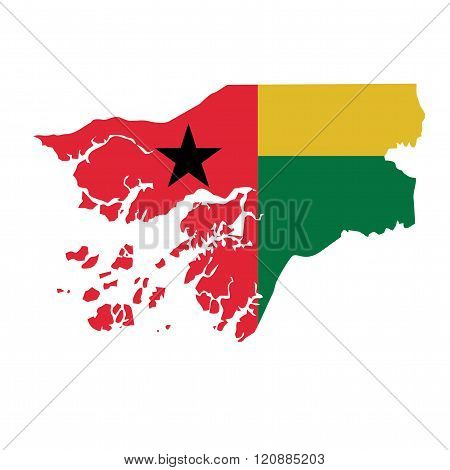 A map and flag of Guinea-Bissau