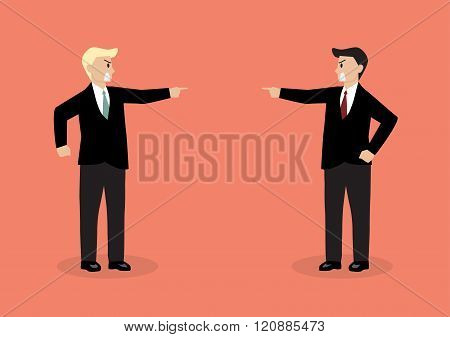 Two Angry Businessman Are Shouting On Each Other