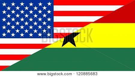 Usa Ghana Half Flag