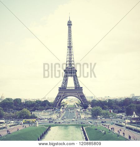 Eiffel Tower in Paris, France. Instagram style filtred image