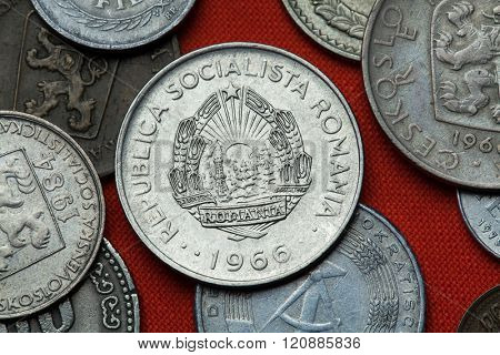 Coins of Communist Romania. Coat of arms of the Socialist Republic of Romania depicted in the Romanian one leu coin (1966).
