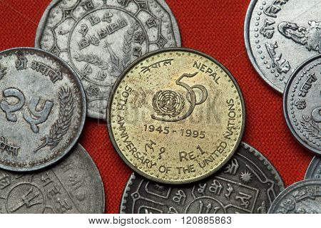 Coins of Nepal. Nepalese commemorative one rupee coin dedicated to the 50th Anniversary of the United Nations.