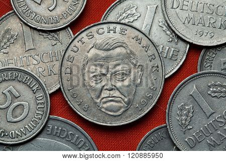 Coins of Germany. German politician Ludwig Erhard depicted in the German two Deutsche Mark coin (1988).