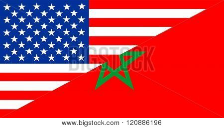 Usa Morocco Half Flag