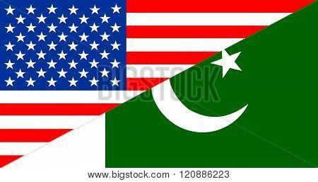 Usa Pakistan Half Flag