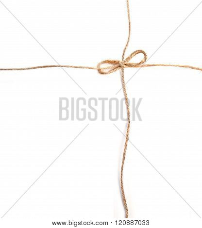 linen rope with bows on white background