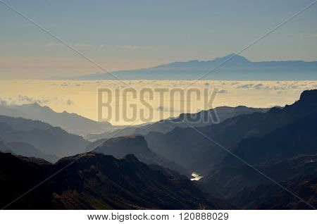 Silhouettes of mountains and Tenerife island in background, Canary islands