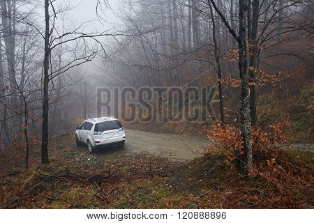 Suv Offroad On A Foggy Day