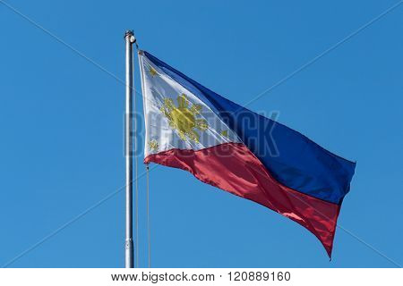 Philippine flag waving  on the air in Manila, Philippines.