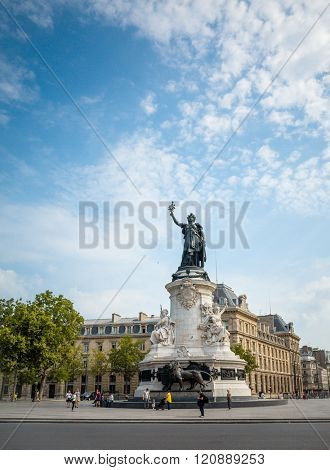 PARIS, FRANCE-July 27: Place de la Republique. built in 1880. It symbolizes the victory of the Republic in France.The Famous Statue of the Republic in Paris on July 27, 2014 in PARIS, FRANCE