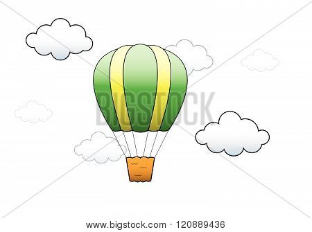 Vector illustration. Bright Hot Air Balloon flying in the sky