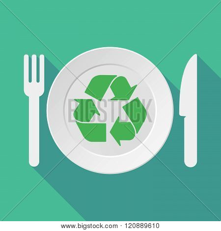 Long Shadow Tableware Illustration With A Recycle Sign
