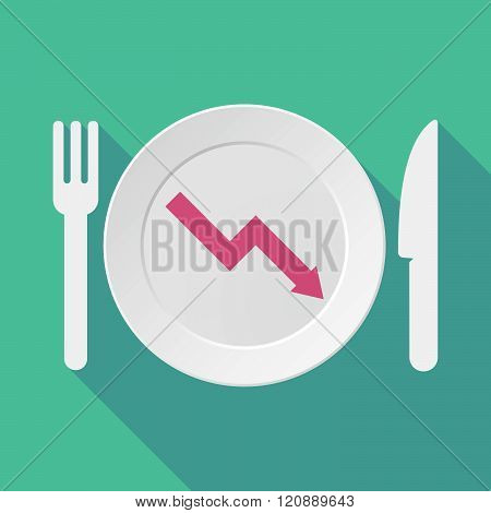Long Shadow Tableware Illustration With A Descending Graph
