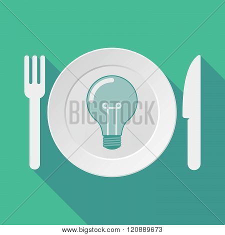 Long Shadow Tableware Illustration With A Light Bulb