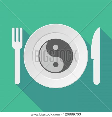 Long Shadow Tableware Illustration With A Ying Yang