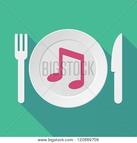 Long Shadow Tableware Illustration With A Note Music