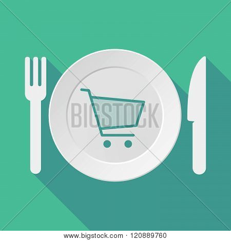 Long Shadow Tableware Illustration With A Shopping Cart