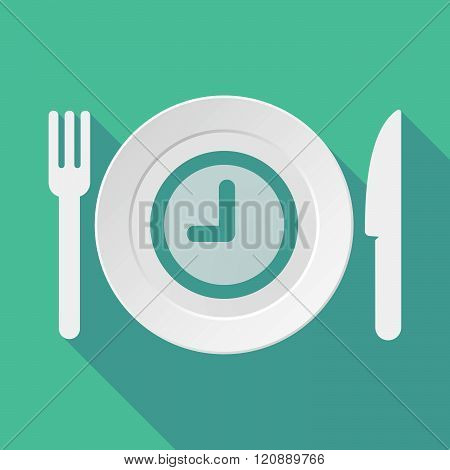 Long Shadow Tableware Illustration With A Clock
