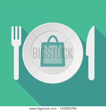 Long Shadow Tableware Illustration With A Shopping Bag